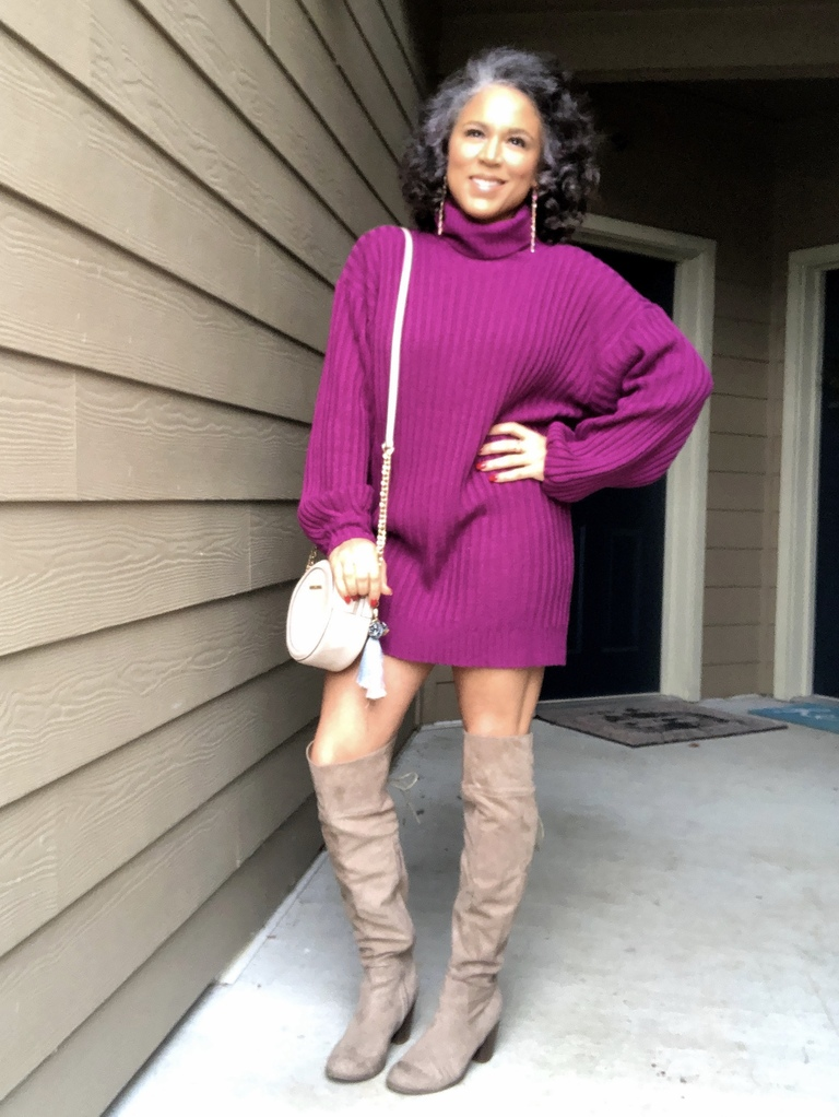 purple turtleneck sweater dress