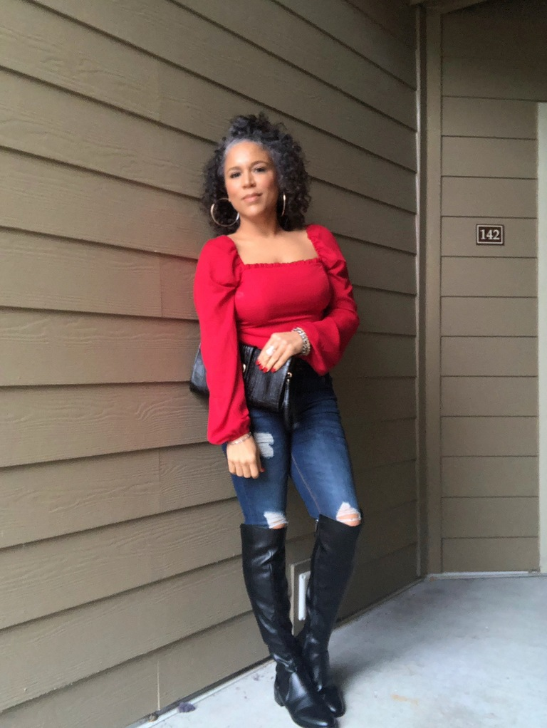 red blouse black boots