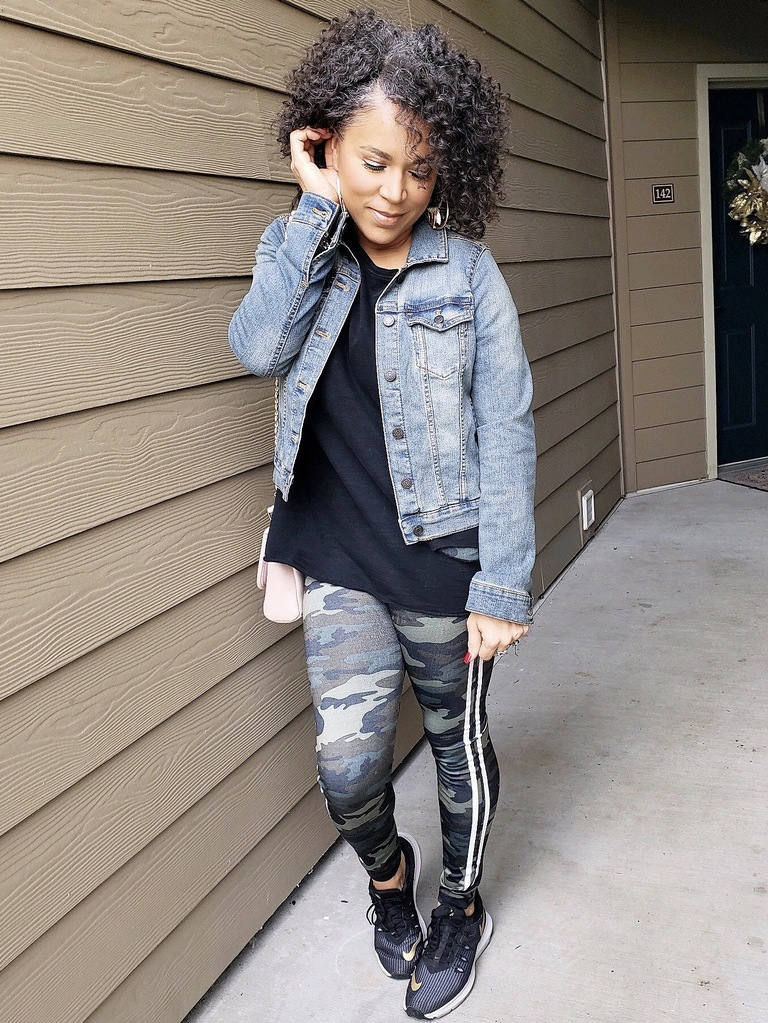 camo leggings denim jacket