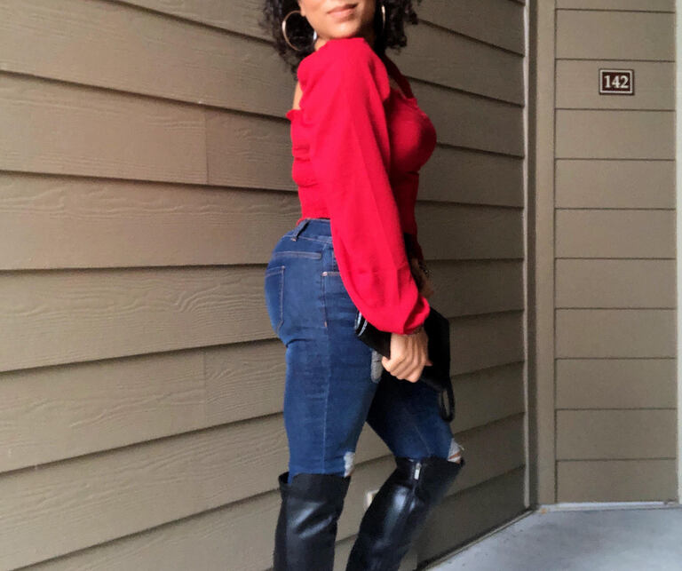 red blouse and blue jeans