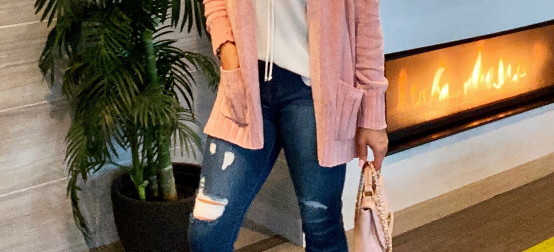 Pink Blush Cardigan and White tank Outfit