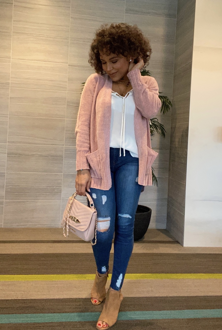 blush pink cardigan outfit