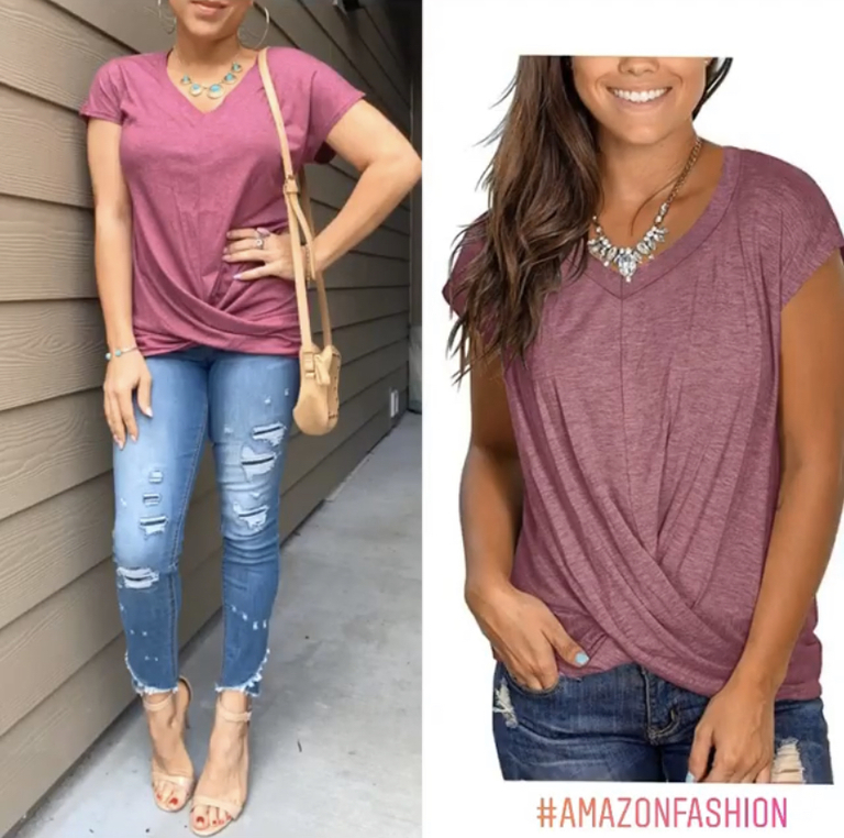 purple mauve twist front tee