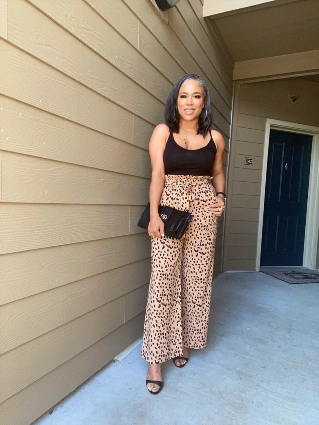 wide-leg leopard pants