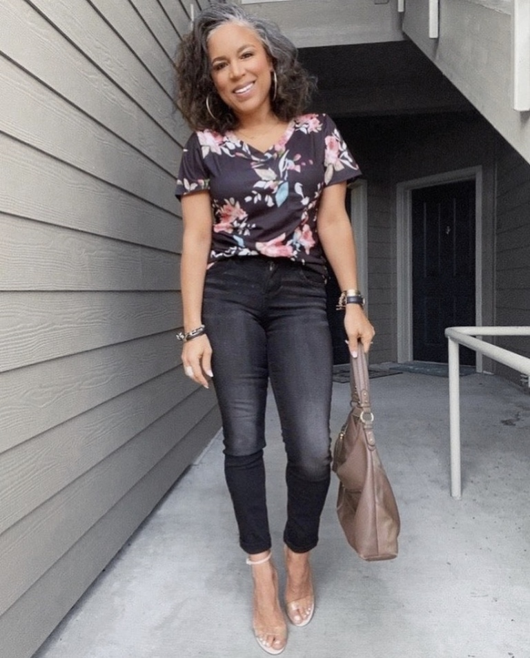 black floral tee outfit