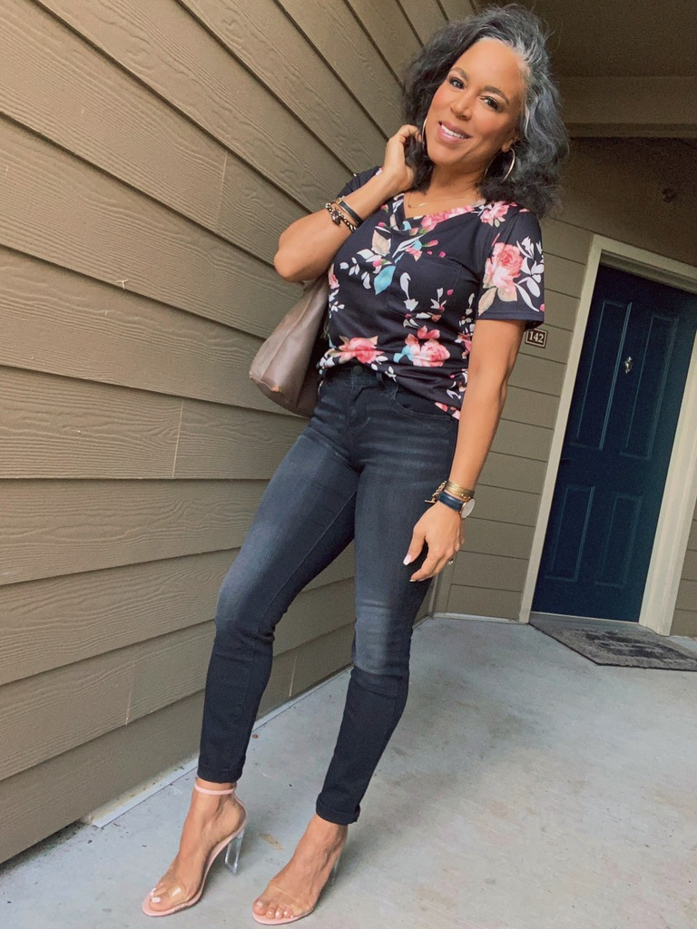 how to style a floral tee