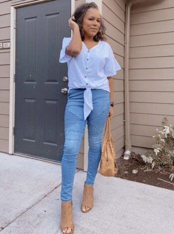 white button down top