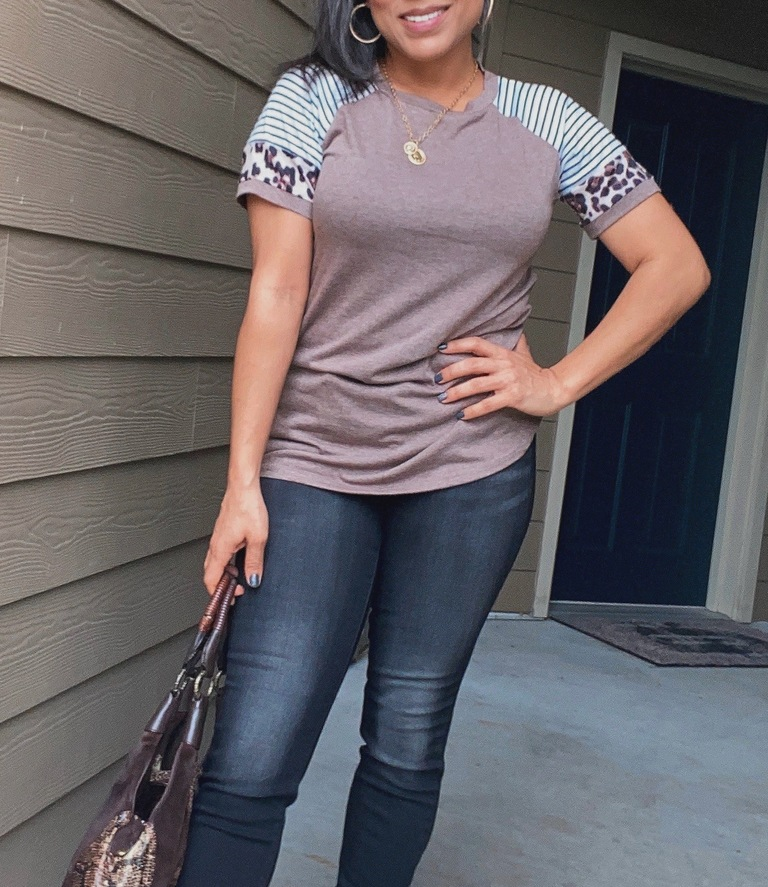 taupe colorblock tee