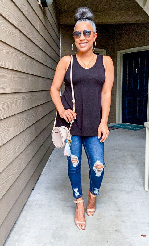 black sleeveless relaxed fit tunic