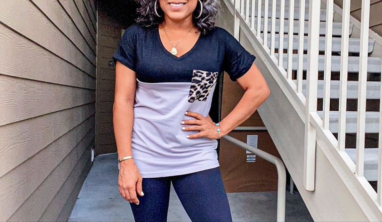 black and gray vneck tee