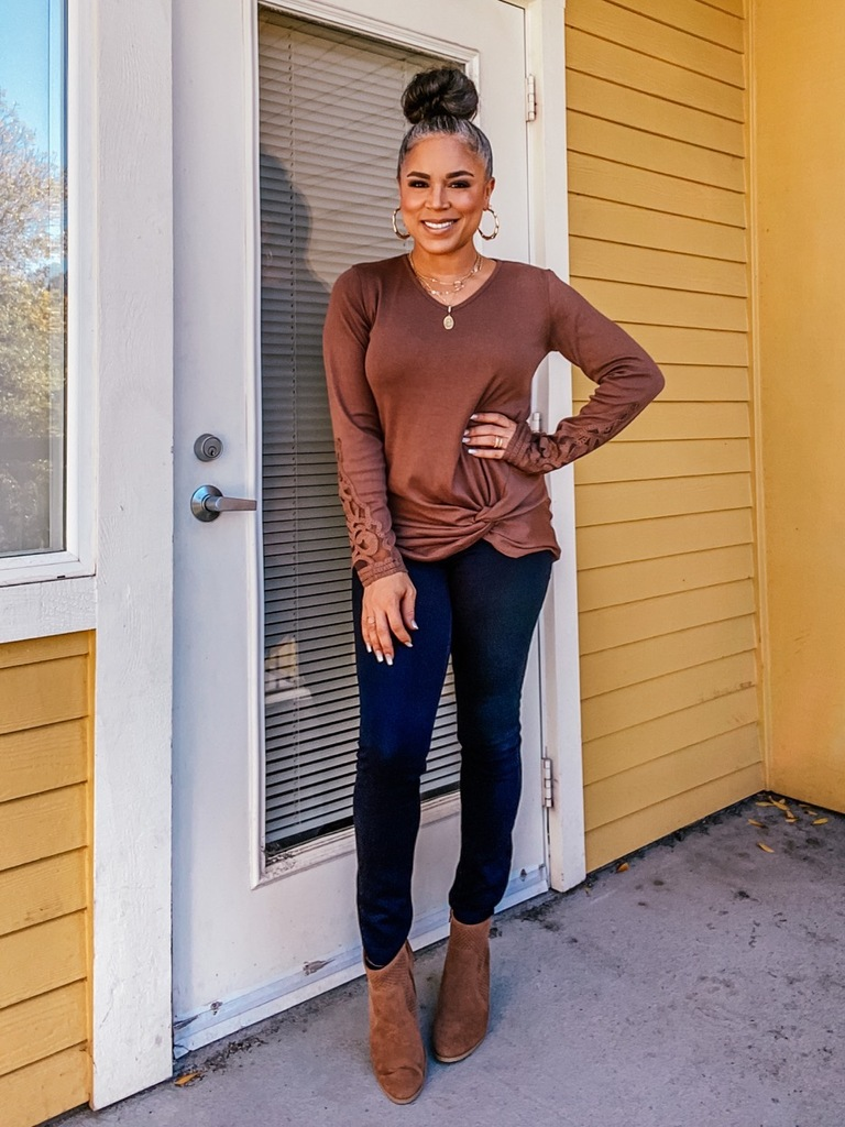 brown twist front long sleeve top