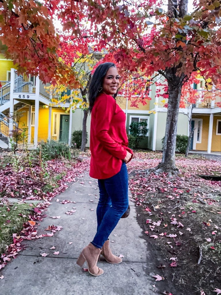 red tunic top long sleeve