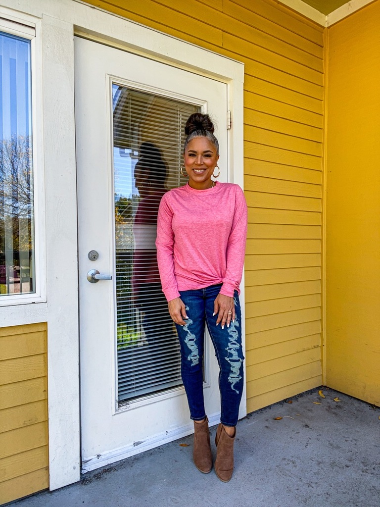 pink twist front long-sleeve top