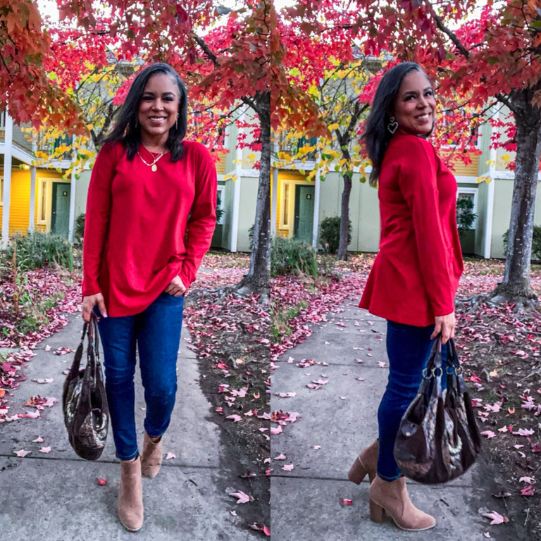 red tunic top long sleeve from amazon