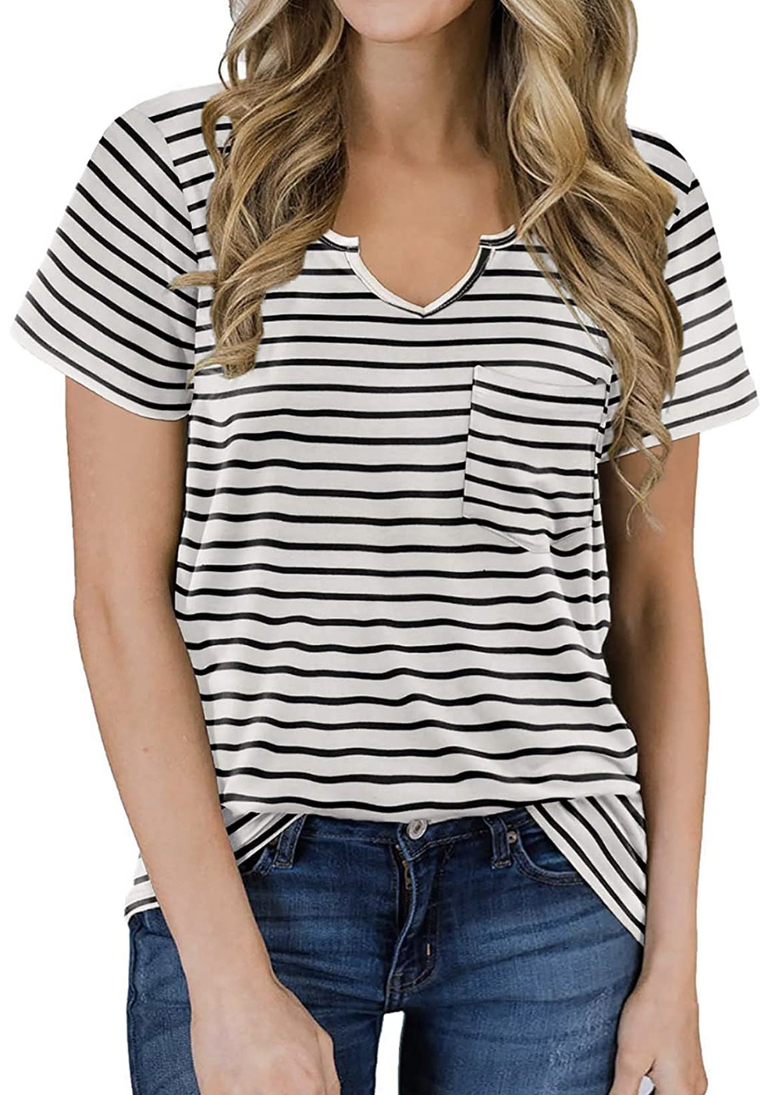 black and white stripe pocket tee