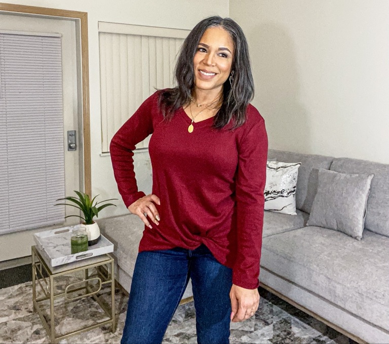 cranberry red twist front top