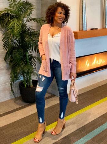 blush pink cardigan outfit