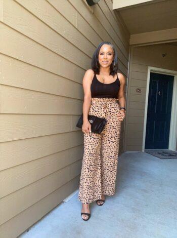 wide-leg leopard pants