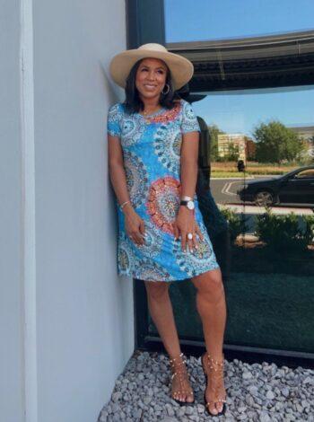 aqua print summer dress