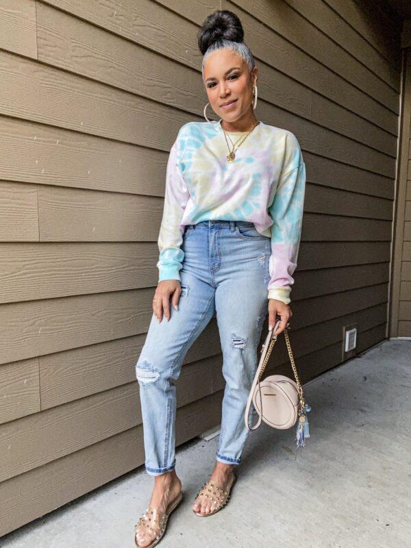 pastel tie-dye sweatshirt