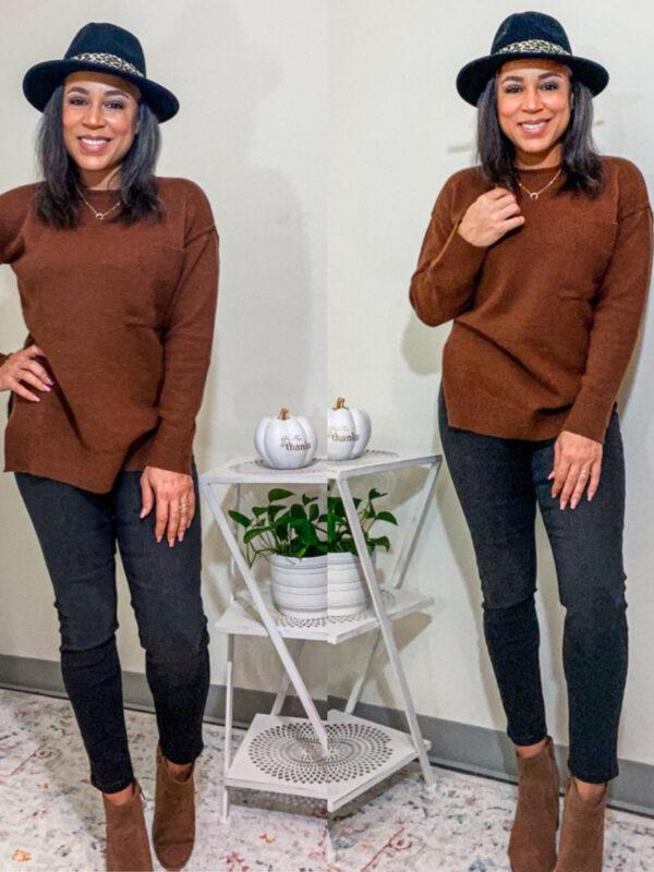 chocolate brown basic sweater